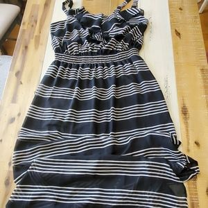 Bbn lack and white striped plus size dress